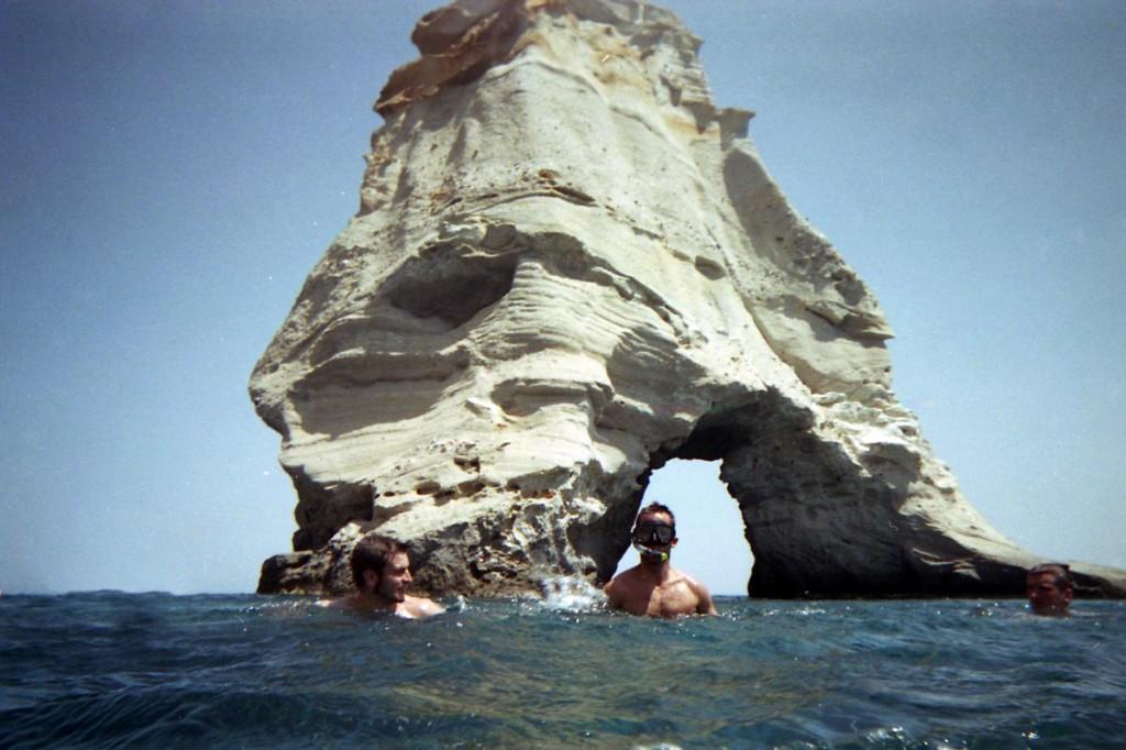 La roca de Kleftiko en Milos, Grecia