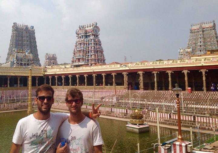 Aitor y Adrian en Madurai, sur de India