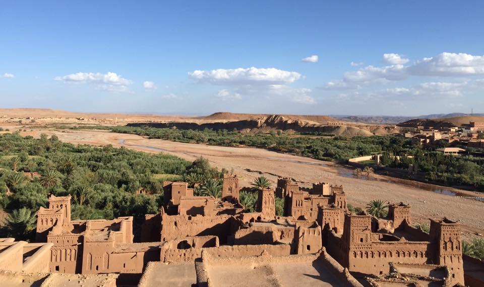 Vista del atardecer desde lo alto del castillo de Ait Ben Haddou