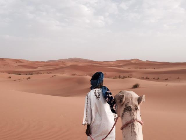 Paseo en camello por las dunas de Merzouga. Al frente, nuestro guía touareg; Alí.