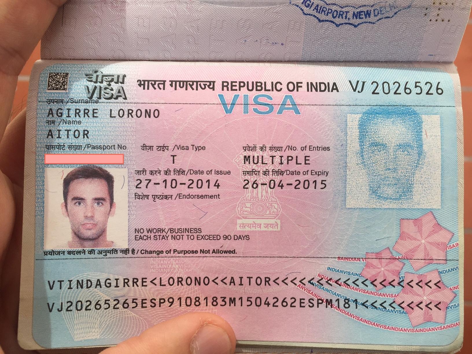 el visado para poder entrar en India