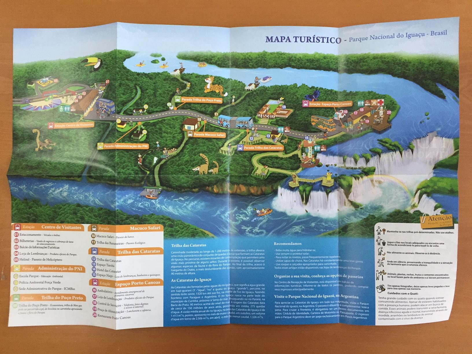 Mapa del lado brasileño de las Cataratas de Iguazú. Info útil para quien quiera visitar las Cataratas de Iguazú desde Brasil