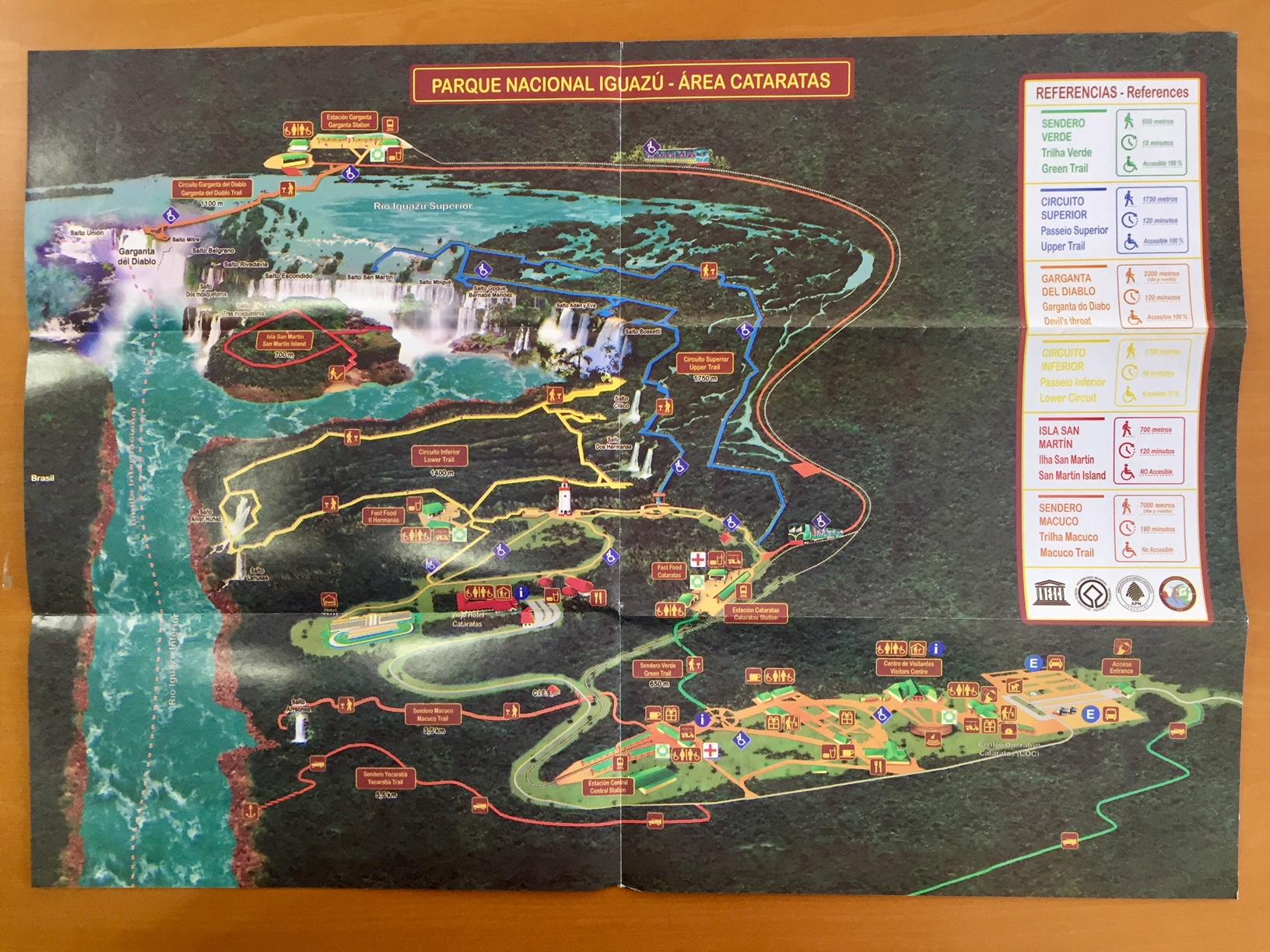 Cataratas del Iguazú mapa del lado argentino