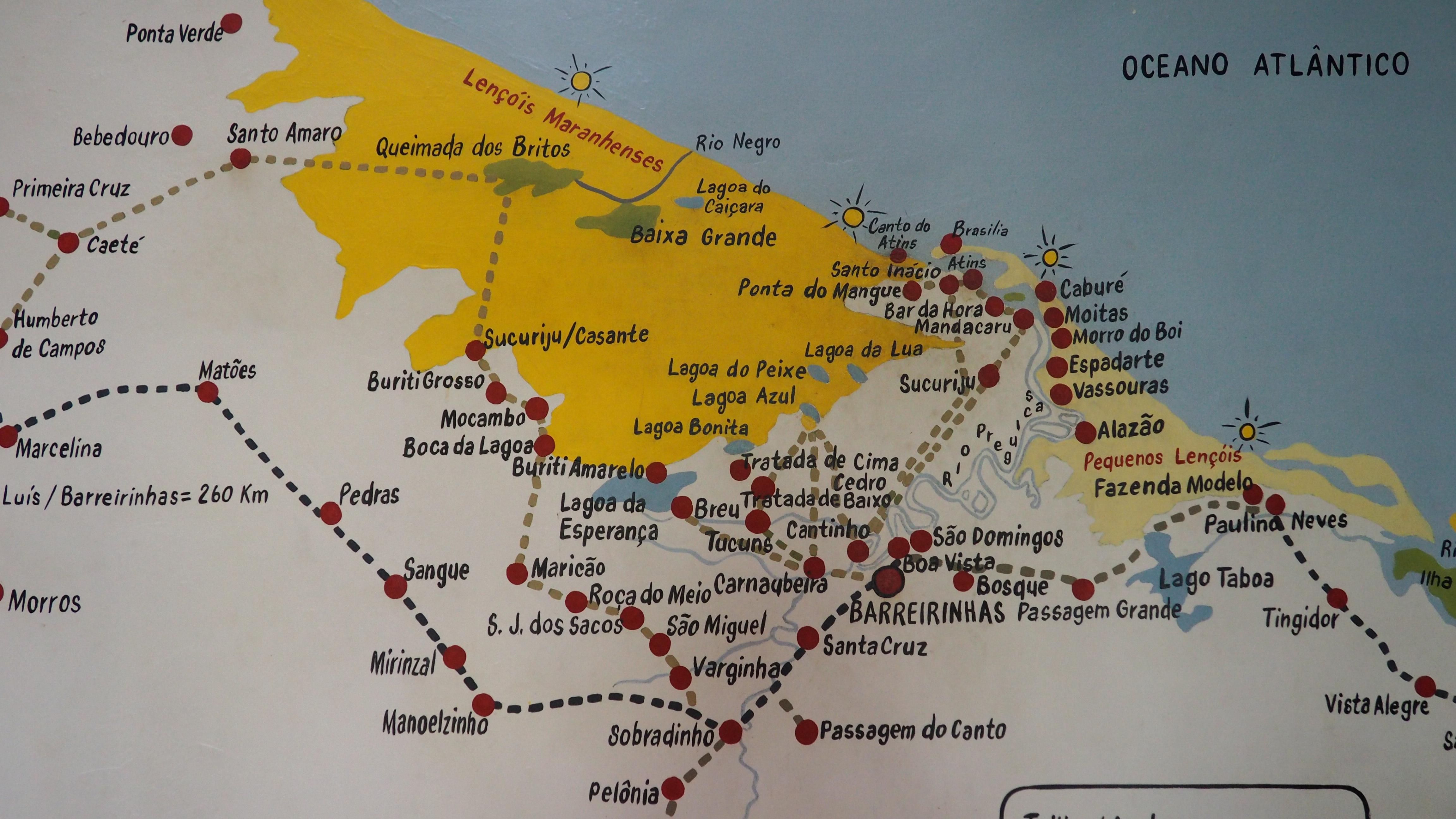 Mapa de los Lençois Maranhenses