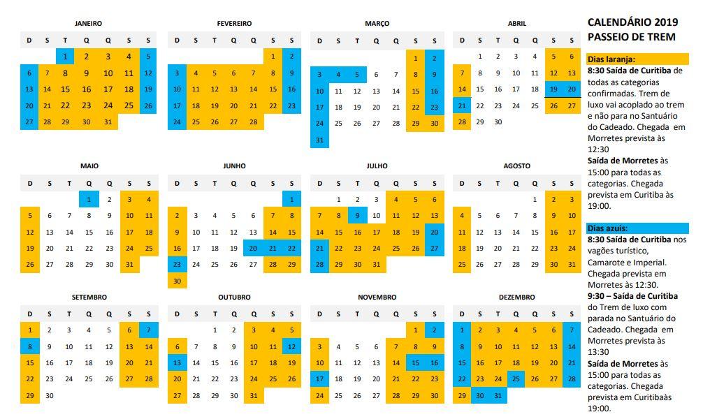 Calendario del Serra Verde Express 2019