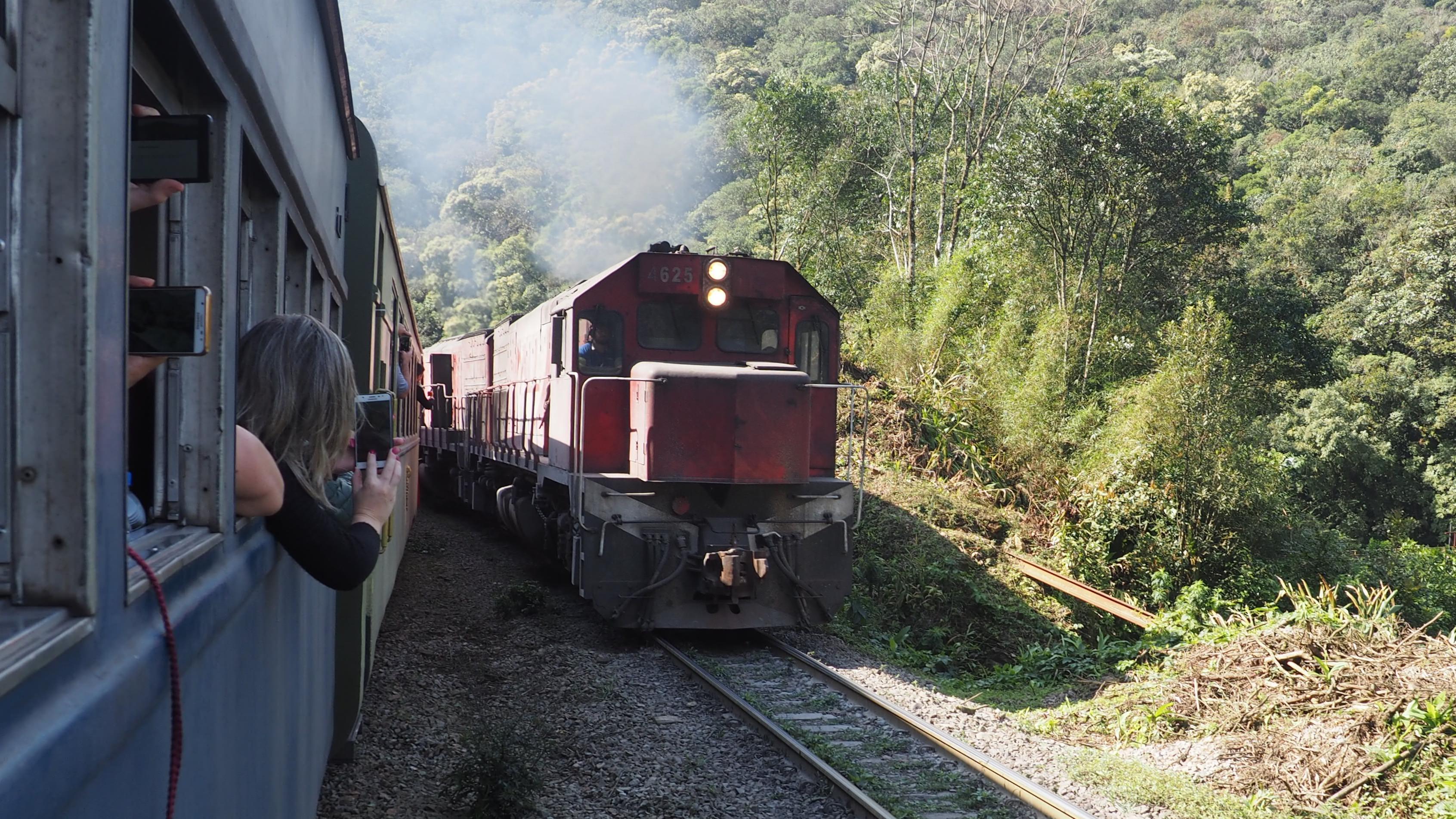 Parados cediendo el paso a un tren de carga que cubre la ruta Paranagua-Curitiba