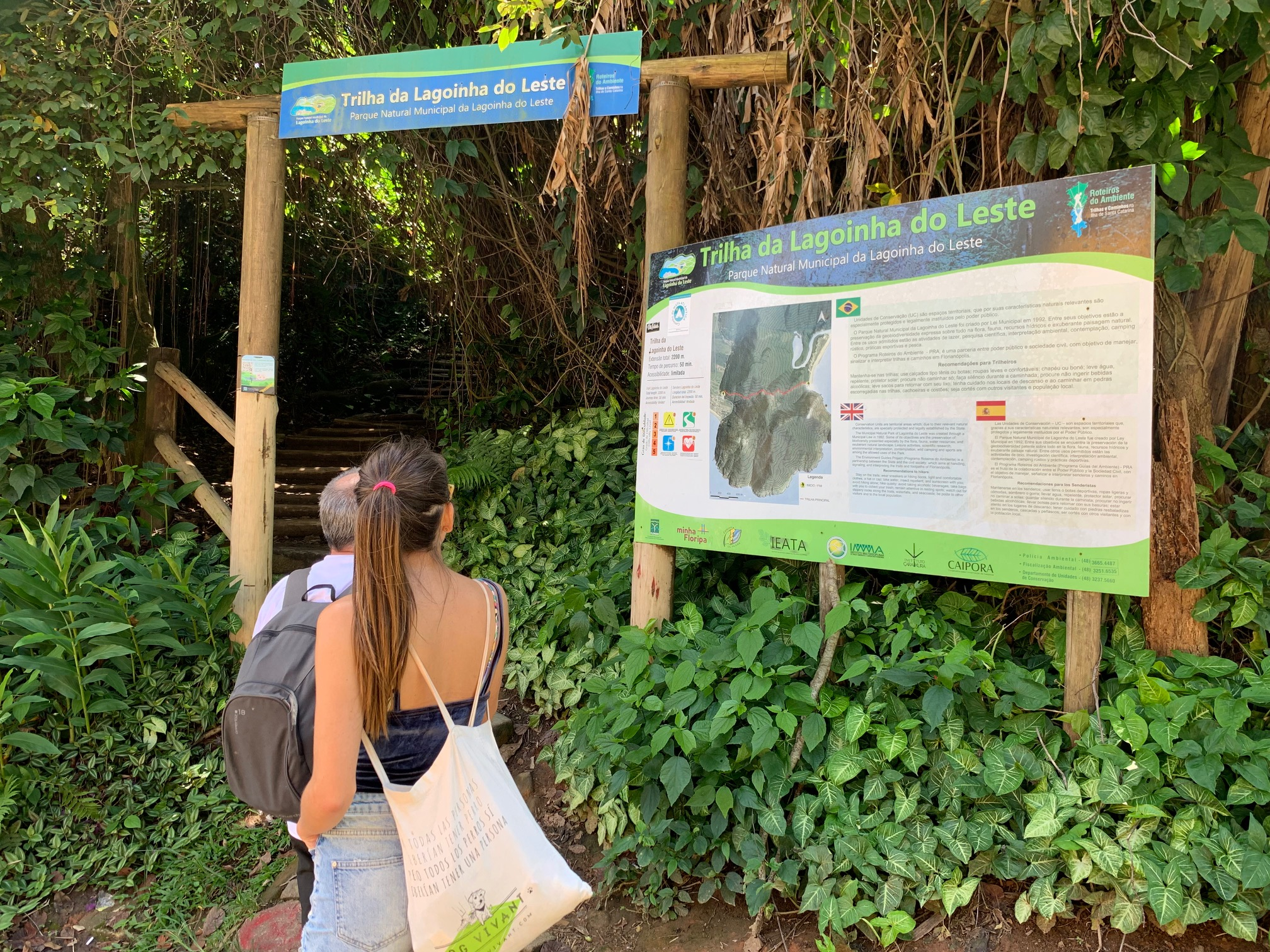 Comienzo del trekking a Lagoinha do Leste; a 100 metros de la carretera de Pantano do Sul