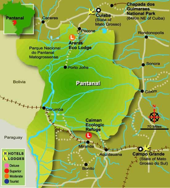 Mapa del Pantanal de Brasil