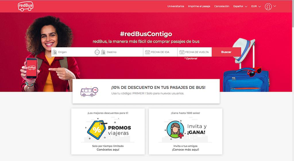 Buscador de billetes de bus en Perú, para comprar online