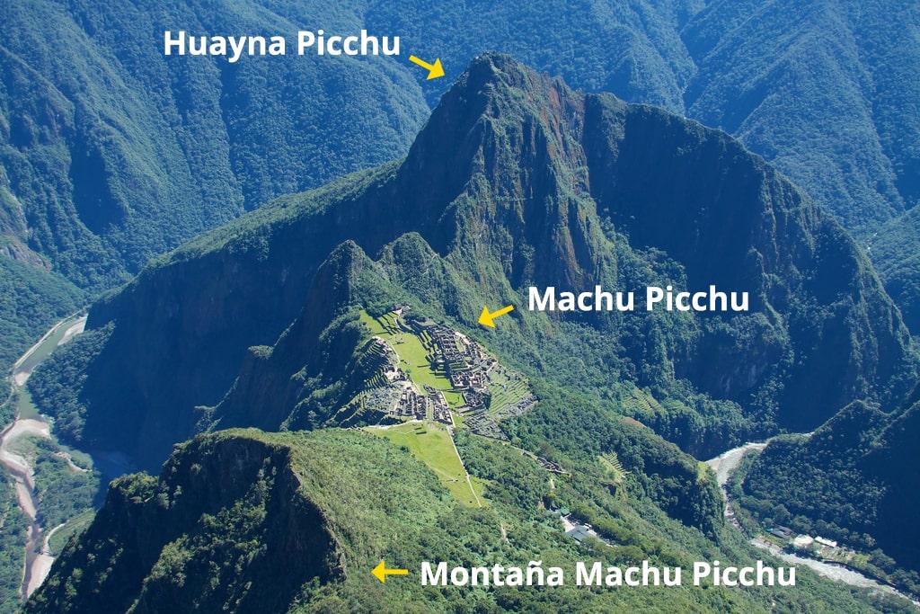 Vista de Huayna Picchu y Machu Picchu desde Montaña