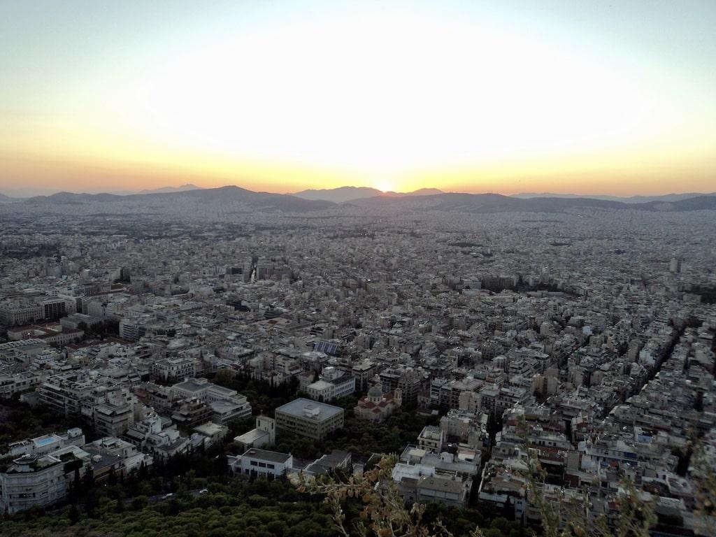 Atardecer en Atenas desde el Monte Licabeto