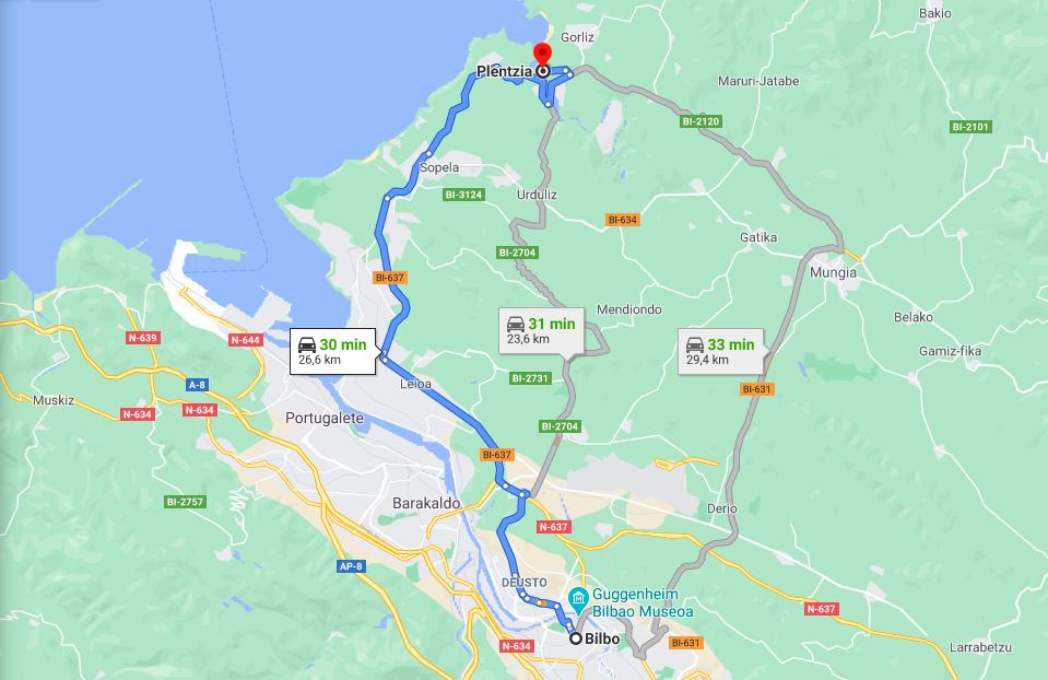 Cómo llegar de Bilbao a Plentzia en coche